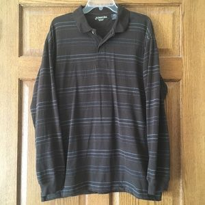 St. John's Bay Long-Sleeve Sueded Polo Brown Large